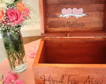 Rustic Personalized Engraved Wooden Card Box