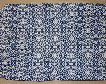 Blue and white dressmaking fabric