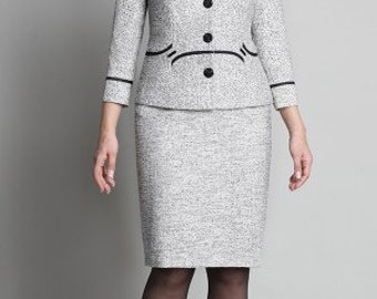 698, 698a, Skirt suits 2 subject: jacket, skirt. Wear to Work. Elegant suit