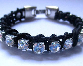 Swarovski Crystal And Black Leather Bracelet