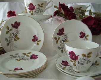 Harleigh English Bone china red white rose cup saucer side plate partial set wedding mix match