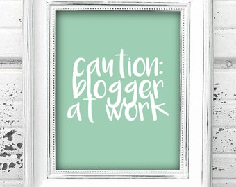 Funny Cute Blogger BLOGGING Art Print