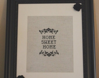 "Black 8 x 10 Framed ""Home Sweet Home' Cross Stitch"