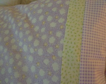 Pillowcase With Lavendar Clouds, yellow and lavendar check border fabric