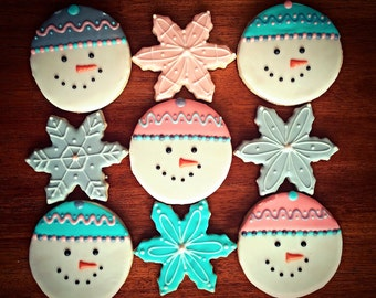 Snowman Cookies with Snowflakes - Winter Cookies - Holiday Party Favors