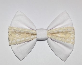 White w/ Beige Lace Hair Bow