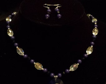 Sale! Blue, Clear, Black, and Silver Pendant Necklace with Matching Earrings (S27)