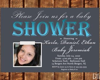 BABY BOY Baby Shower Invitation, baby shower invite, baby,blue, family invitation