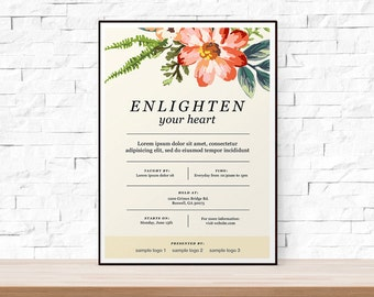 DIY Printable Floral Event Template Flyer for Bridal Showers or Church Events. Word Doc + PSD version