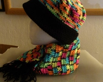 Blacklight Hat and Scarf - Glows in the Dark