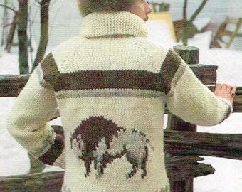 Vintage Men's Knitting Pattern - Buffalo Jacket with Seperating Zipper - West Coast Cardigan - PDF Download - Retro - 70's 1970s
