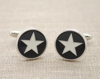 Star Cufflinks White Black Enamel Metal Hipster Men's Accessory Wedding Groom Best Man Gift Round Silver Tone