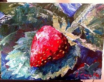 Strawberry. Original acrylic painting