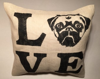 Farmhouse Pillows, Pug Pillow, Rustic Pillows, Pug Gifts,  Rustic Home Decor, Animal Lovers gift, Dog Lover Gift, Pet Memorial Gift