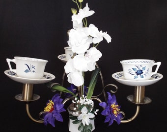 Mad Hatter tea cup and orchid chandelier center piece FREE UK SHIPPING