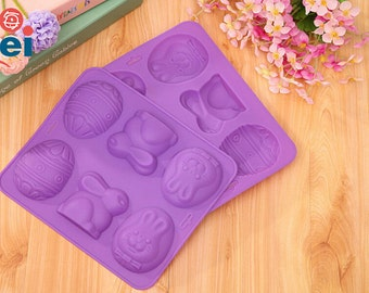 SALE DIY Easter Egg Rabbit Cake Mold Soap Mold Flexible Silicone Mold Crafts Candle Mold Resin Mould Tool