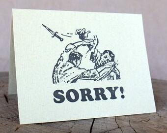 Letterpress Greeting Card, SORRY