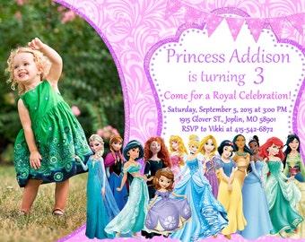 Disney Princess Invitation Birthday - Disney Princess Party