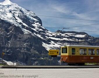 Switzerland Art Print, Swiss Train and Mountains, Kleine Scheidegg, Swiss Landscape, Bernese Alps, Nature Photography, Mountain Landscape