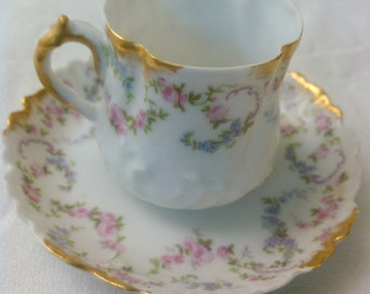French Porcelain Imperial Limoges tea cup and saucer c1940s