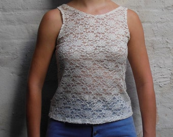 Sexy sheer stretchy lace tank size S Small