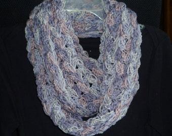 Crochet Purple Infinity Scarf