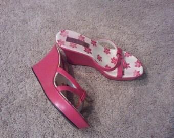 "Pink Platform Sandals. Made by ""Seventeen Miles""."