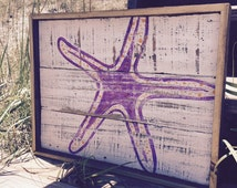 Starfish Found, Hand made Starfish Wooden Wall Hanging, Reclaimed Fence Panel Art, Recycled Art, Hand painted Ocean Wall Art, Custom Art