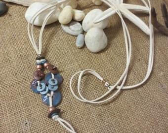 Tassel Necklace 'Ikaria', blue ceramic vintage parts, suede tying