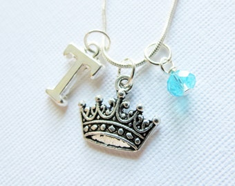 Queen Necklace, Crown Charm Necklace, Royal Crown, Royalty, Birthstone, Initial Charm, Personalized, OUAT, Once Upon a Time, Crown, Queen