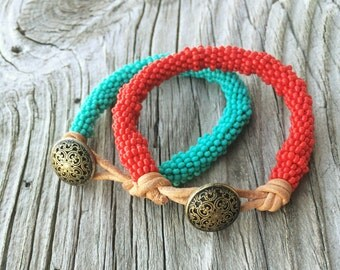 Bracelet with Beads on a Leather Cord