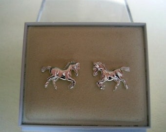 One Pair Sterling Silver Or 9ct Gold Horse Stud Earrings