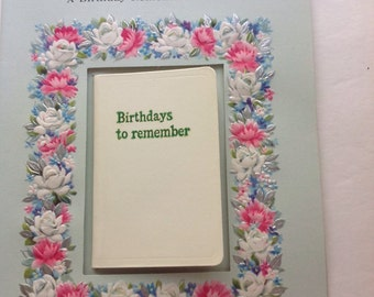 Vintage Unused Birthday Card With Tiny Journal, New Old Stock, 1950's