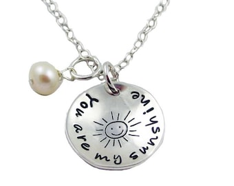 Silver You are my Sunshine Necklace