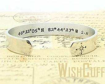 Latitude Longitude Bracelet- GPS Coordinates, Personalized Bracelet, Custom Cuff Bracelet, Gifts Idea, Anniversary, Long Distance Relations