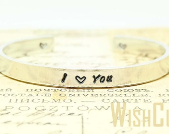 I Love You stamped bracelet- Gift for Mom, Sisters gift, Mother of the Bride Gift, Personalized Gift, Custom Cuff Bracelet.