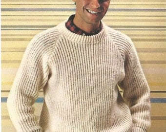 knit mens ribbed sweater long sleeves round neck knit in 2 pieces jumper tunic pullover vintage style instant download pdf
