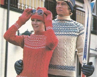 His Hers Knit fairisle  sweaters with cables  womens  and mens pullover jumper tunic vintage pattern instant download pdf