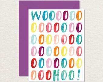 Printable Birthday Card / Happy Printable Birthday / Funny Birthday Card / Woohoo! A2 / Watercolor Birthday Printable