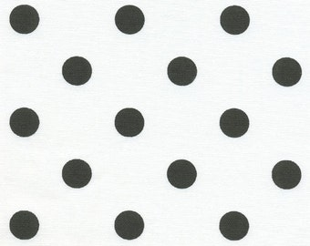 Premier Prints Polka Dot in White with Black Dots 7 oz Cotton Home Decor fabric, 1 yard