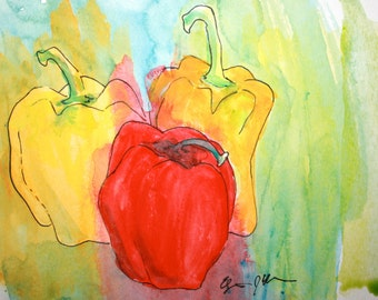 Watercolor Bell Peppers Print 10x8