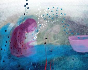 Water alive, print, digital illustration