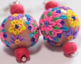 Polymer clay floral earrings