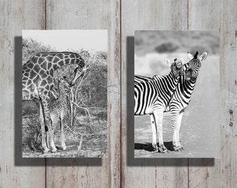Wildlife | Plains Zebra & Giraffe | From The Bushveld With Love | Set | 30 x 42cm | Giraffe Canvas | Giraffe Art | Zebra canvas | Zebra art