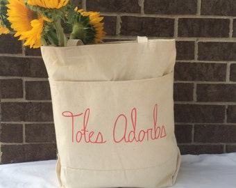 Totes Adorbs Tote Bag.Large Canvas Tote Bag. Canvas Tote Bag With Pockets.Market Tote.Cute Tote Bag.Grocery Tote Bag.Gift for Her Under 30