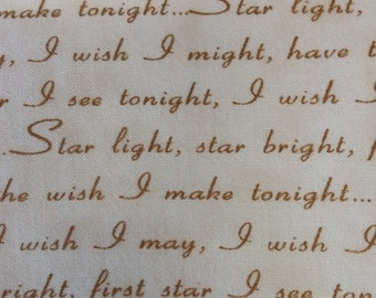 """Sold by the 1/2 yard! Disney Dream Collection by Thomas Kinkade """"When You Wish Upon A Star """" gold or green letters"""
