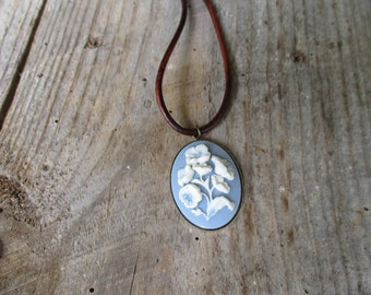 Leather Necklace Blue Cameo Rustic For Her White Flowers Brass Bezel Cup