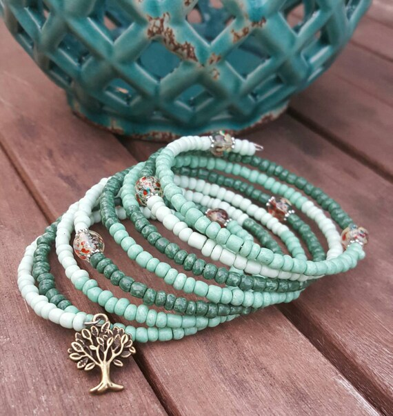 Shades Of Teal Memory Wire Bracelet With By Tinassunshinebeads