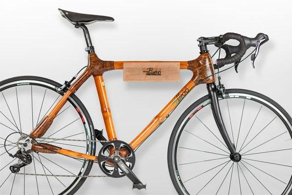 Fahrradwandhalterung aus Holz (Bambus) und Leder
