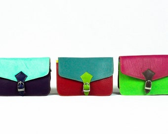 leather clutch bag, handbag, purse, womens, handmade fairtrade recycled colourful colorful
